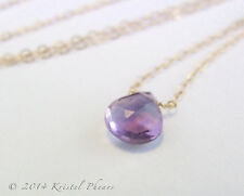 SALE Amethyst necklace, Solid 14k gold - February Birthstone solitaire handmade