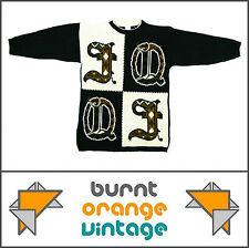 Womens VTG 90s BLACK WHITE CHECK OVERSIZED HIP-HOP JUMPER SWEATER 10 12 Rihanna