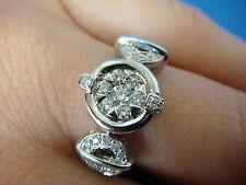 ! ELEGANT 18K GOLD LADIES DIAMOND UNUSUAL DESIGN RING, 4.9 GRAMS, SIZE 6.5.