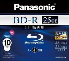 10 Panasonic Bluray BD-R 25GB Bluray DVD HD 4x Speed Inkjet Printable Japan Made