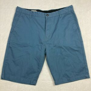 Volcom Mens Blue Vmonty Regular Fit Flat Front Casual Chino Shorts Size 36