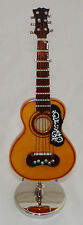 """Spanish Guitar miniature handmade collectible 4"""" w/ display stand & black case"""