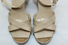 NEW $450 Jimmy Choo Papyrus Patent Leather Cork Wedge Sandals Nude 40/ 9US (N15)