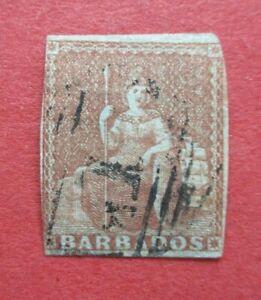 SG5 Barbados Victoria 1855 4d Brown No Watermark Blued  Paper Used