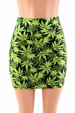 SMALL Leafy Green Cannabis Pot Weed Ganja Spandex Bodycon Mini Skirt Clubwear!
