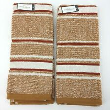 Ground Ginger Striped Hand Towels Threshold Guest Bathroom Set of 2 NWT