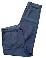 Talbots Girlfriend Chino Pants Womens Size 6 Chambray Blue Cotton Beach