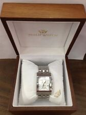 Philip Watch Chronograph Yeros Quartz Stainless Steel Date Swiss Square Case
