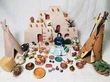 Lot Dollhouse Miniatures 4 Diorama Room Box Native American Indian Doll Pottery