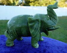 Green JADE ELEPHANT Crystal Display Hand Carved Good Luck & Prosperity Gem Stone