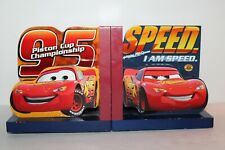 Disney Cars Lightning McQueen Piston Cup Championship Wooden Bookends