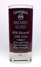 *NEW* Engraved % BACARDI HighBall Glass Gift 18th/21st/30th/40th/Mum Birthday