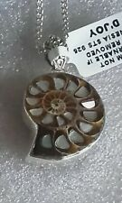 Ammonite and Mother of Pearl set in sterling silver pendant / chain