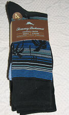 Tommy Bahama Palm Down Blue & Black Assorted Socks 4 Pair Casual Crew OSZ