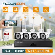 KIT VIDEOSORVEGLIANZA WIRELESS FULL HD 1080P IP TELECAMERE WiFi AHD NVR+1TB HDD