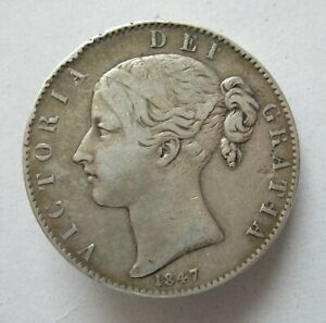 British Silver Crown Victoria 1847 XI Young Head