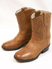 Old West Toddlers' Cowboy Boot - Round Toe - 3129 Size 7 D Brown Leather