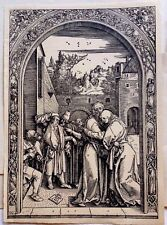 Durer Society 1509 Joachim and Anna old laid paper original woodblock signed