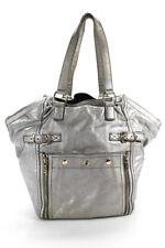 Yves Saint Laurent Womens Large Downtown Metallic Leather Tote Handbag Silver