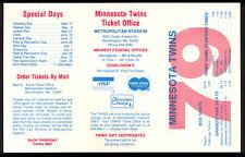 1979 MLB Baseball Minnesota Twins Pocket Schedule UNMARKED & UNUSED NM Original