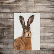 Animal Print spaventato Lepre Effetto Tela Stampa Muro ARTE Per la casa,