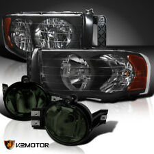 02-05 Dodge Ram Black Diamond Headlights+Smoke Bumper Fog Lights