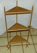 Gold Painted Twisted Rod Iron Corner Plant Stand  (PS155)