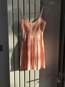 Topshop Petite Peach Chiffon Dress Size 6 New