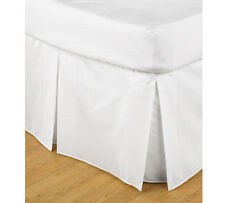 NEW Valance box pleat SINGLE DOUBLE QUEEN KING - WHITE LINEN BLACK CREAM CHOC