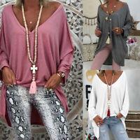 Mode Femme Simple Loose Col V Manche Longue Asymétrique Bouffant Haut Tops Plus