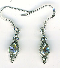 925 Sterling Silver Abalone Drop / Dangle Earrings Length (with hooks) 1.3/8""