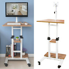 Mobile Table Laptop Desk Stand Notebook Cart Tray Compact Adjustable Workstation