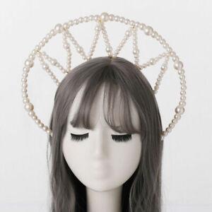 Women Halo Crown Headband with Beads Bridal Wedding Headpiece Party Headpiece
