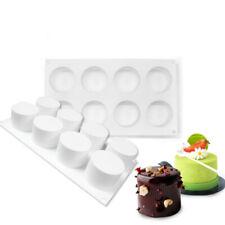 8 Cavidad Redondo Cilindro Silicona Molde Hágalo usted mismo mousse Torta Postre Molde Para Hornear 3D