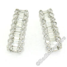 New 14K White Gold 3.35ct Round & Baguette Diamond Cuff Stud Drop Post Earrings
