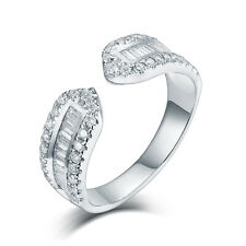 Solid 14K White Gold Diamond Get Marry Propose Baggutte Diamond Band Ring