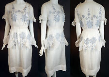 Vintage Betty Wales Dresses Cornflower Blue Embroidered White Batiste Tea Gown