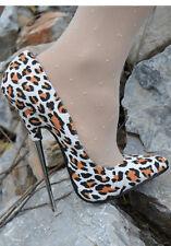 Sexy Womens us 4.5-9.5 Leopard Pumps Shoes 16cm Stilettos Pointed Toe Steel Heel