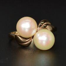Anillo De Oro 9CT Doble Perla Vintage Tamaño de cruce I (Reino Unido) o 4.5 (EE. UU.) L:228a