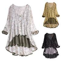 Plus Size Womens Boho Floral Long Sleeve Blouse Loose Pleated Tops V Neck Shirts