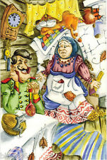 SOLDIER OLD WOMAN CAT MOUSE ROACHES IN THE COUNTRY HOUSE MODERN Russian p/card