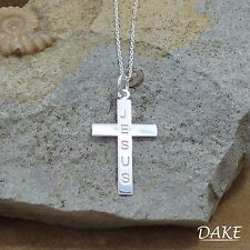 """New 925 Sterling Silver 'Jesus' Christian Cross Pendant Necklace 18"""""""