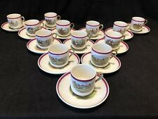 Copeland Spode Herring Hunt Set of 13 Demitasse Cup and Saucers Rare Red Rim