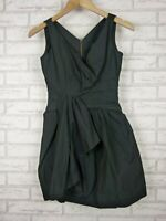 Cue Fit & Flare Dress Exposed Zip Black Evening Event Sz 6