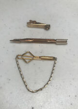 Chain Gem Classic Style Clasp Tack 3 Vintage Swank Tie Clips Arrow
