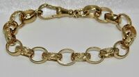SOLID 9CT YELLOW GOLD ON SILVER 6.5 INCH KID'S / CHILDREN'S BELCHER BRACELET