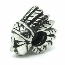 INDIAN BRAVE-Native American-CHIEF-Solid 925 Sterling silver bead charm-Threaded