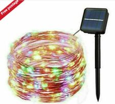 LED Outdoor Solar Powered Copper Wire Fairy Lights String multicoloured  10M