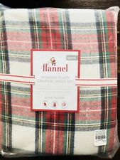 Pottery Barn Kids Queen Morgan Sheet Set Christmas Organic Flannel COTTON Plaid