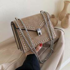 Scrub Leather Small Shoulder Messenger Bags For Women Chain Rivet Lock Crossbody